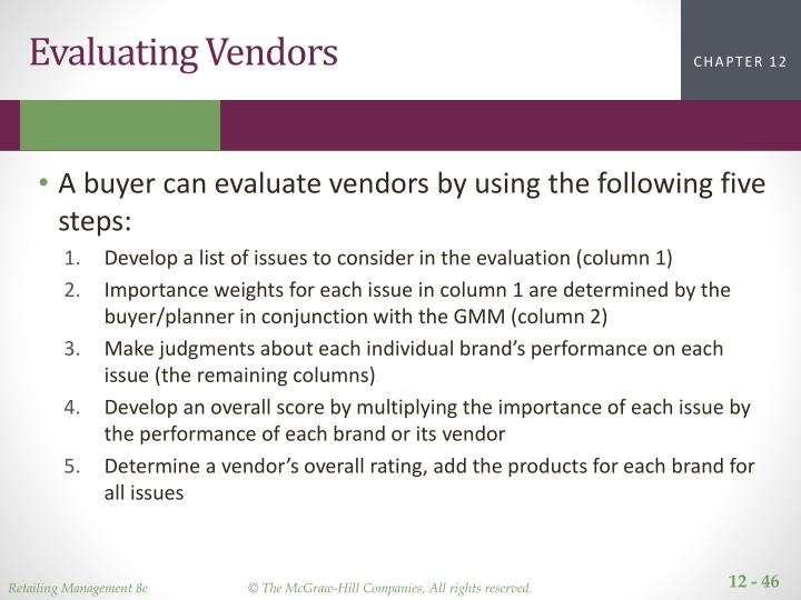 Evaluating Vendors