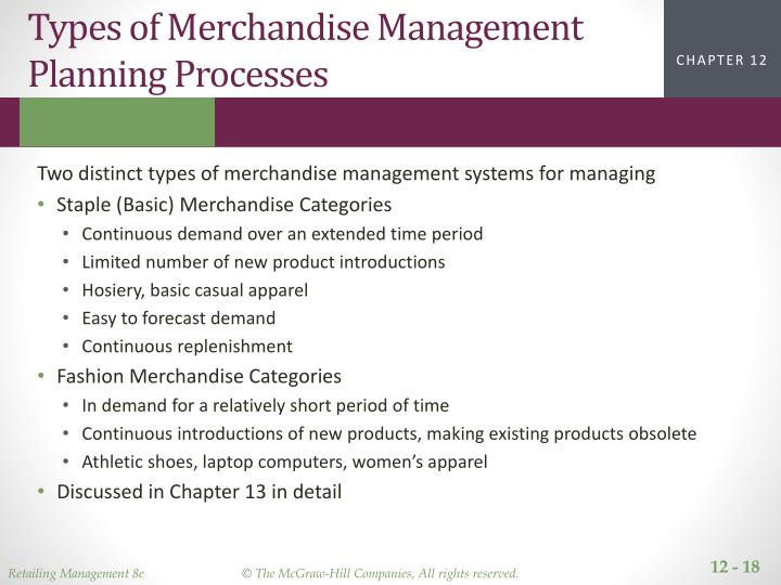 Types of Merchandise Management Planning Processes