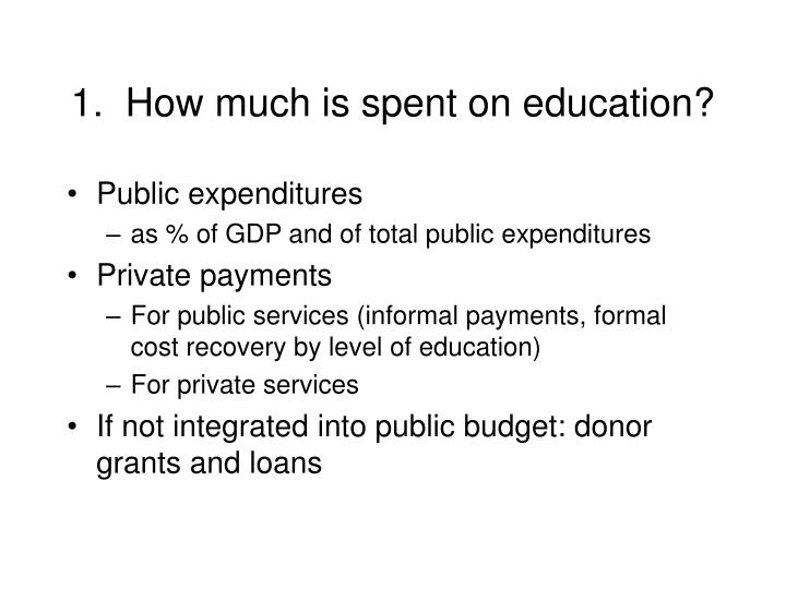 1.  How much is spent on education?