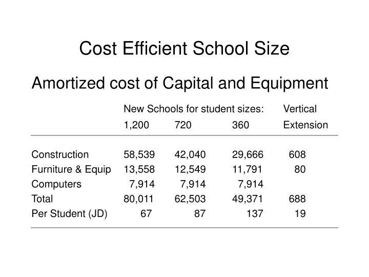 Cost Efficient School Size