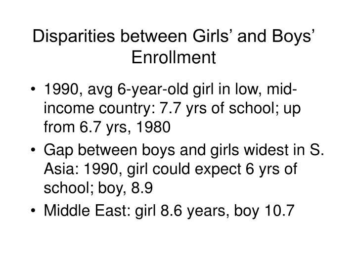 Disparities between Girls' and Boys' Enrollment