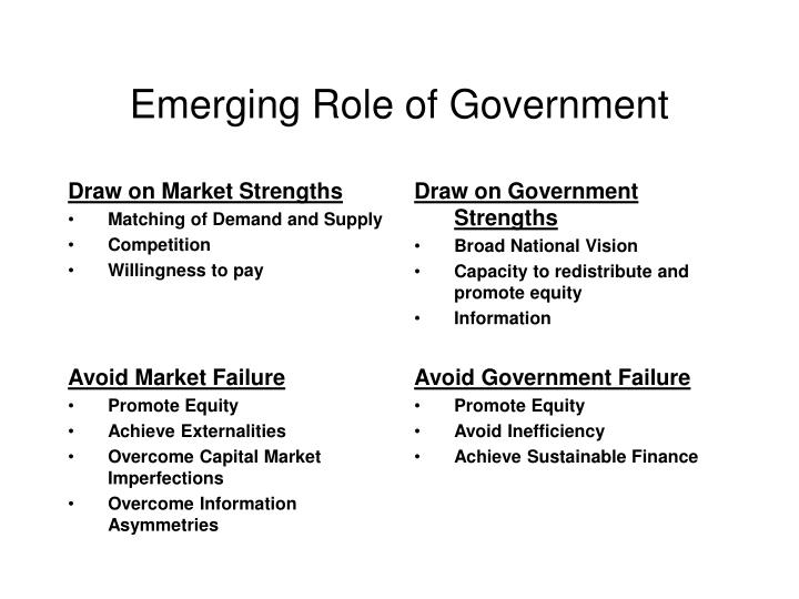 Emerging Role of Government