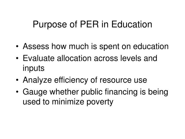 Purpose of PER in Education
