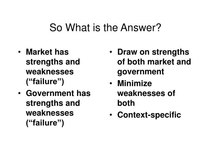 """Market has strengths and weaknesses (""""failure"""")"""