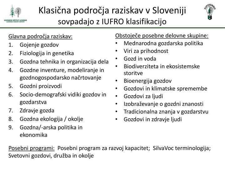 Klasična področja raziskav v Sloveniji