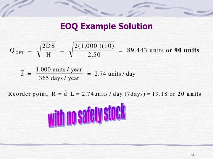 EOQ Example Solution