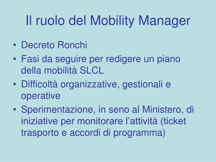 Il ruolo del Mobility Manager