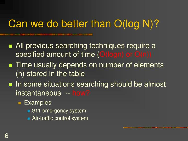 Can we do better than O(log N)?