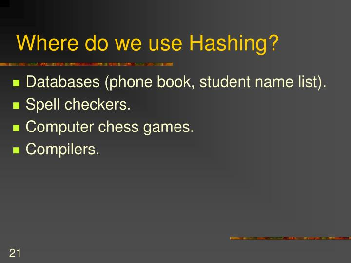 Where do we use Hashing?