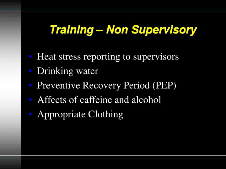 Training – Non Supervisory