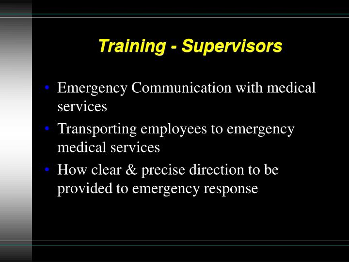 Training - Supervisors