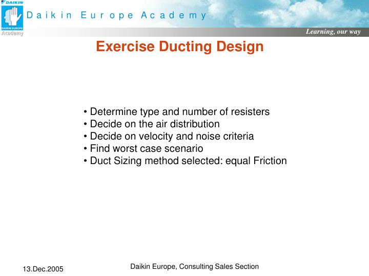 Exercise Ducting Design