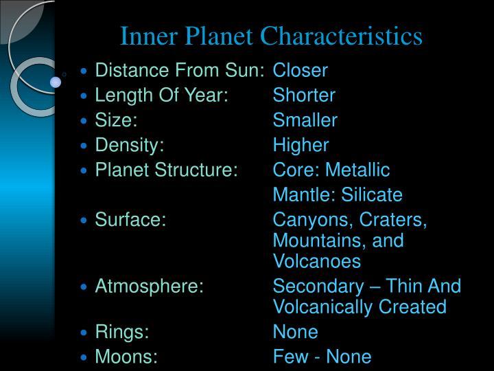 Inner Planet Characteristics