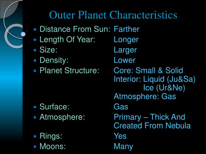 Outer Planet Characteristics
