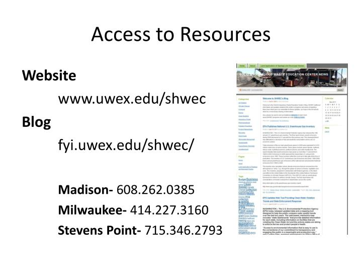 Access to Resources
