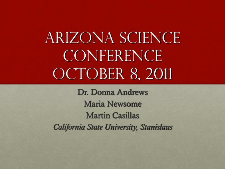 Arizona science conference october 8 2011