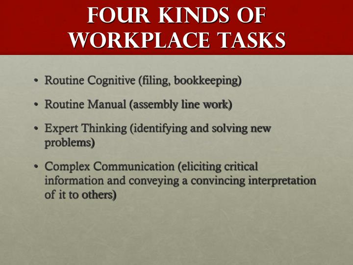 Four Kinds of Workplace Tasks