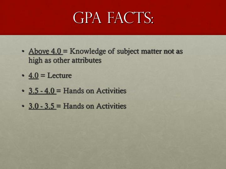 GPA FACTS: