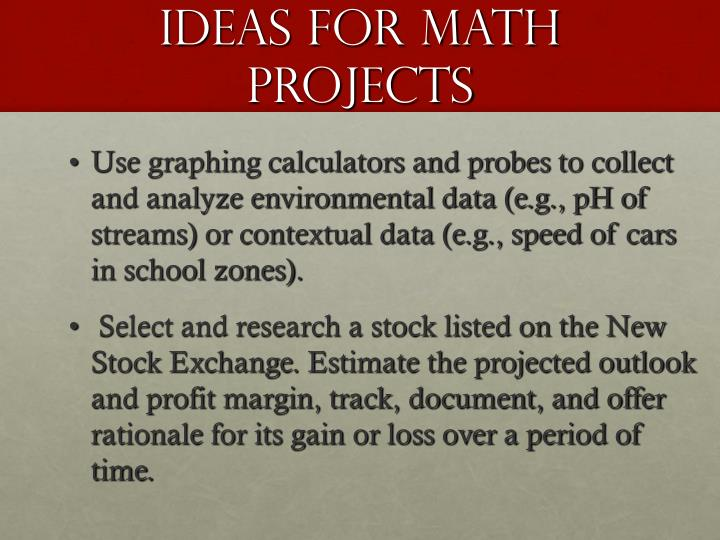 Ideas for Math Projects