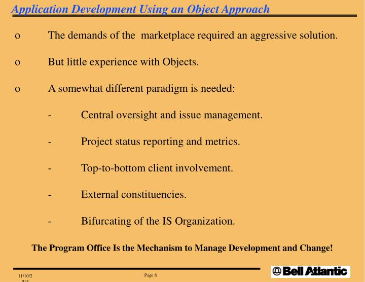 Application Development Using an Object Approach