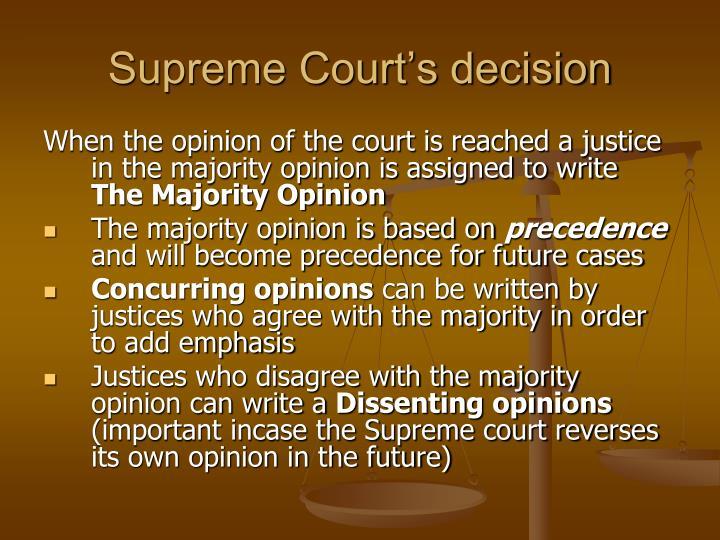 Supreme Court's decision
