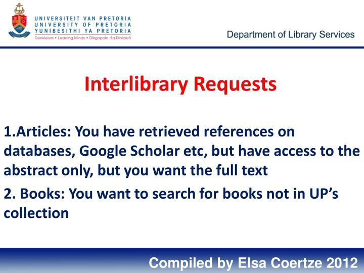 Interlibrary requests
