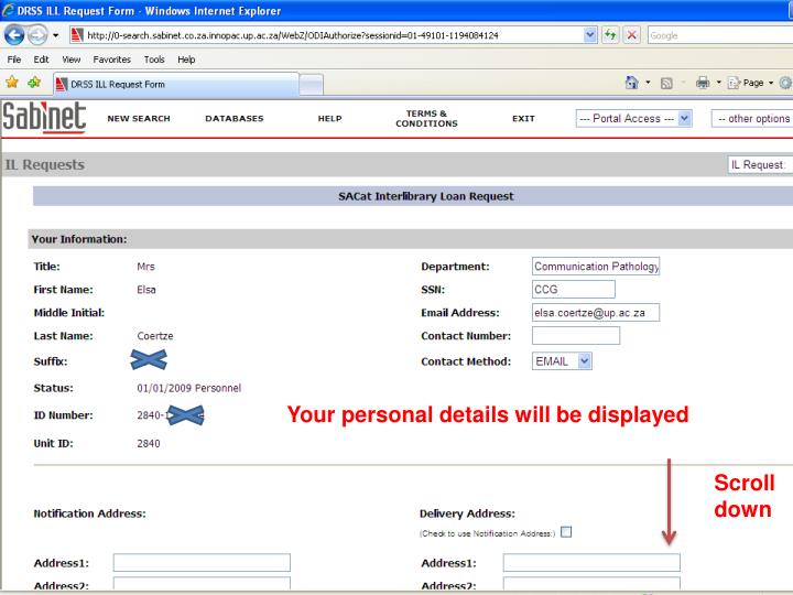 Your personal details will be displayed