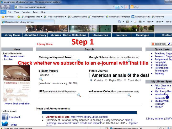 Check whether we subscribe to an e-journal with that title
