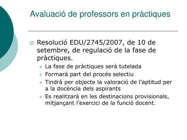 Avaluació de professors en pràctiques