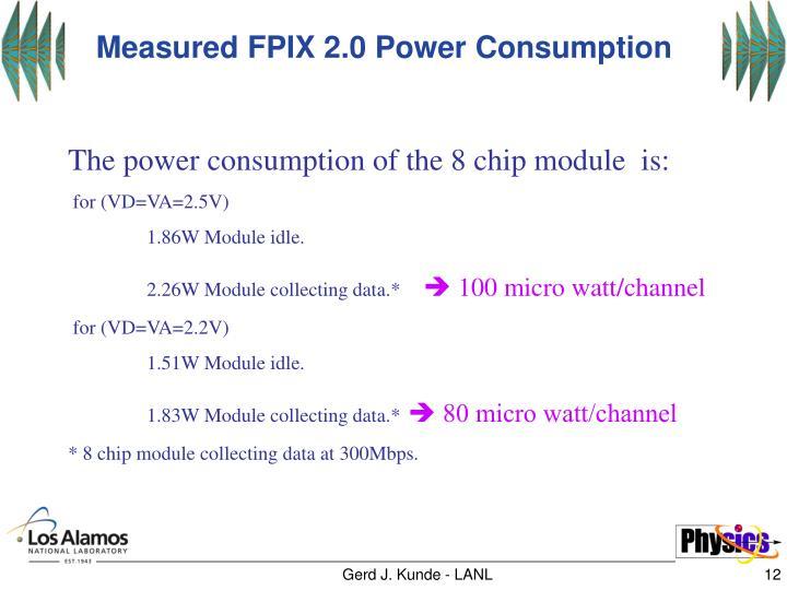 Measured FPIX 2.0 Power Consumption