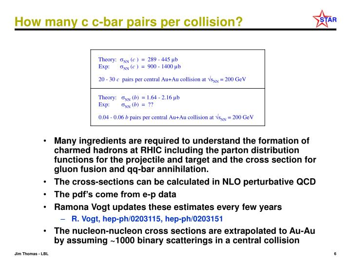 How many c c-bar pairs per collision?