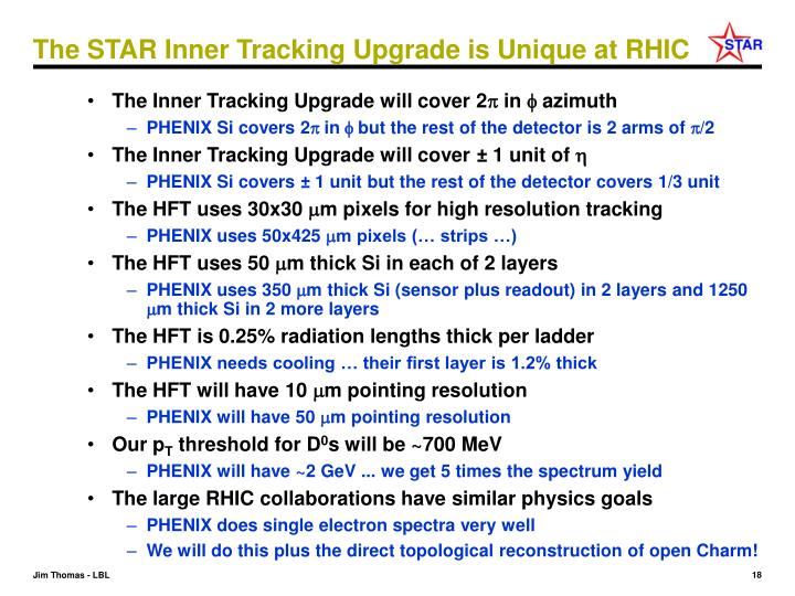 The STAR Inner Tracking Upgrade is Unique at RHIC