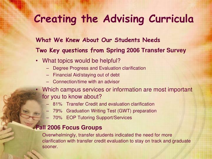 Creating the Advising Curricula