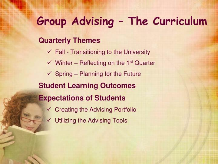 Group Advising – The Curriculum