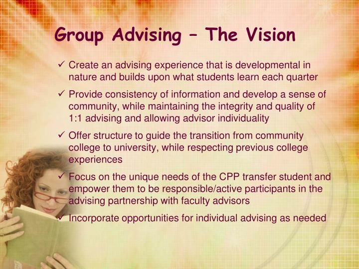 Group Advising – The Vision
