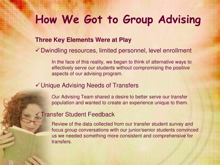 How We Got to Group Advising