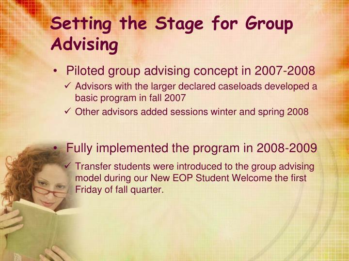 Setting the Stage for Group Advising