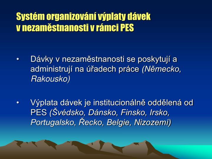 Systém organizování výplaty dávek vnezaměstnanosti vrámci PES