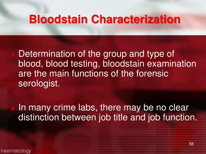 Bloodstain Characterization