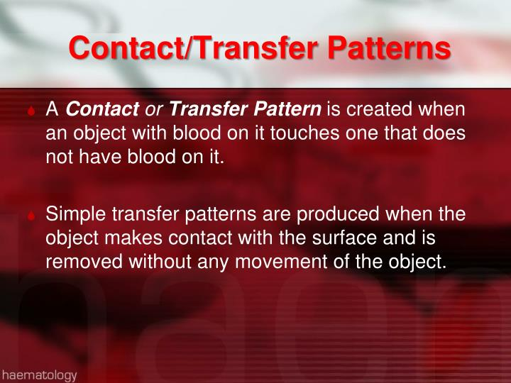 Contact/Transfer Patterns
