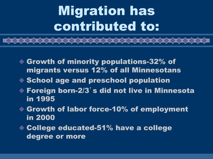 Migration has contributed to: