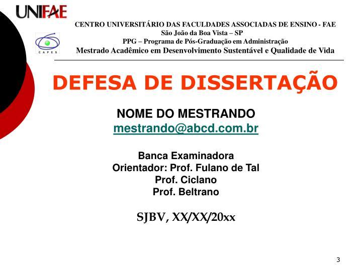 CENTRO UNIVERSITÁRIO DAS FACULDADES ASSOCIADAS DE ENSINO - FAE