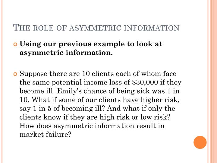 The role of asymmetric information