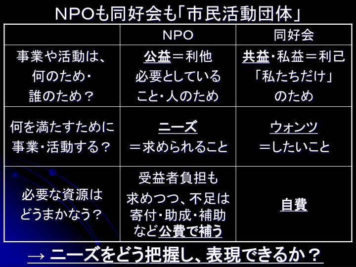NPOも同好会も「市民活動団体」