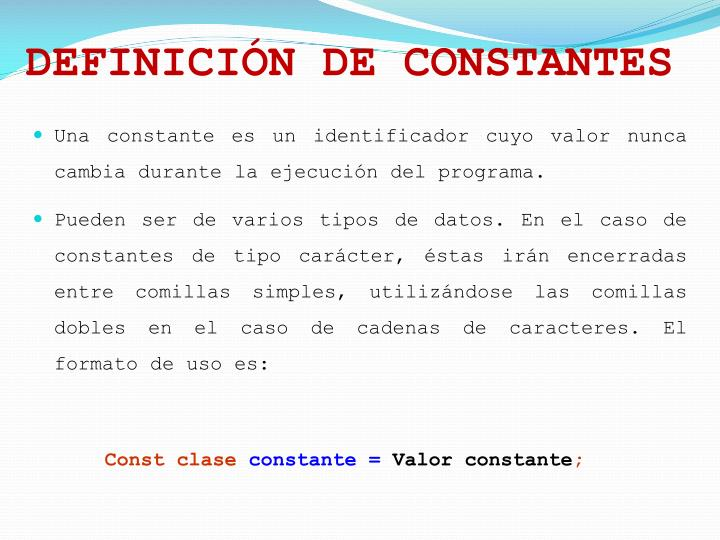 DEFINICIÓN DE CONSTANTES