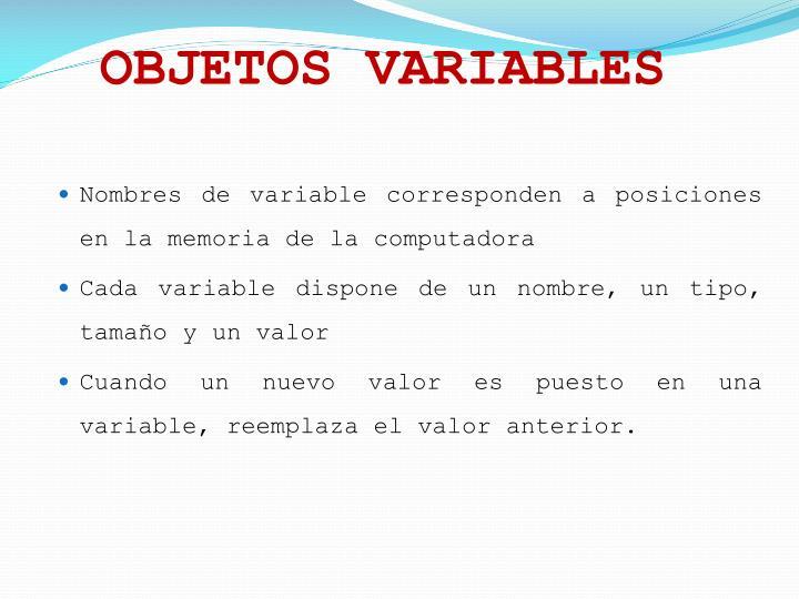 OBJETOS VARIABLES