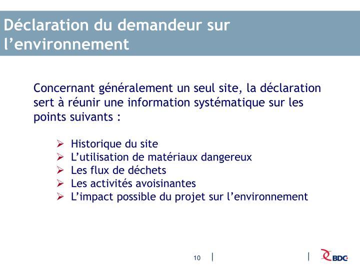 Déclaration du demandeur sur l'environnement