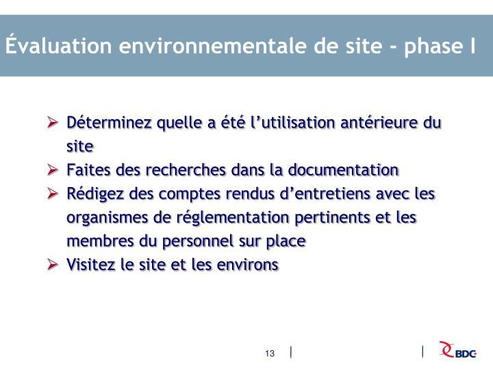 Évaluation environnementale de site - phase I