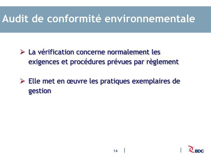 Audit de conformité environnementale