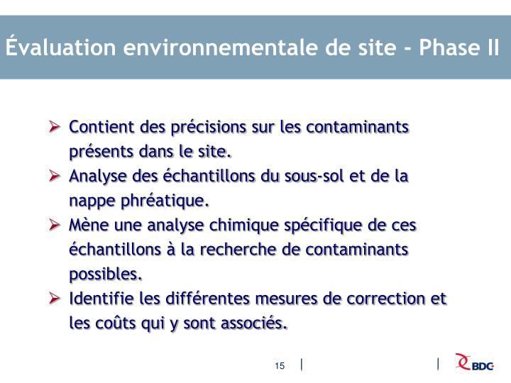 Évaluation environnementale de site - Phase II